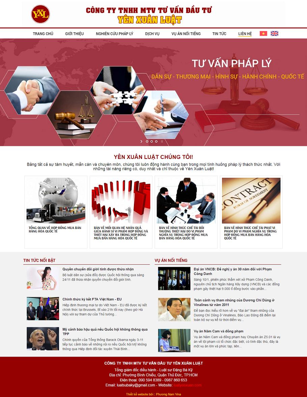 Giao diện trang chủ website Công ty Yên Xuân Luật