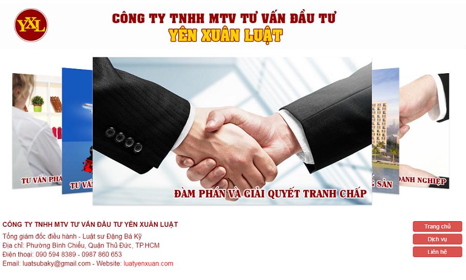Giao diện Intro website Công ty Yên Xuân Luật