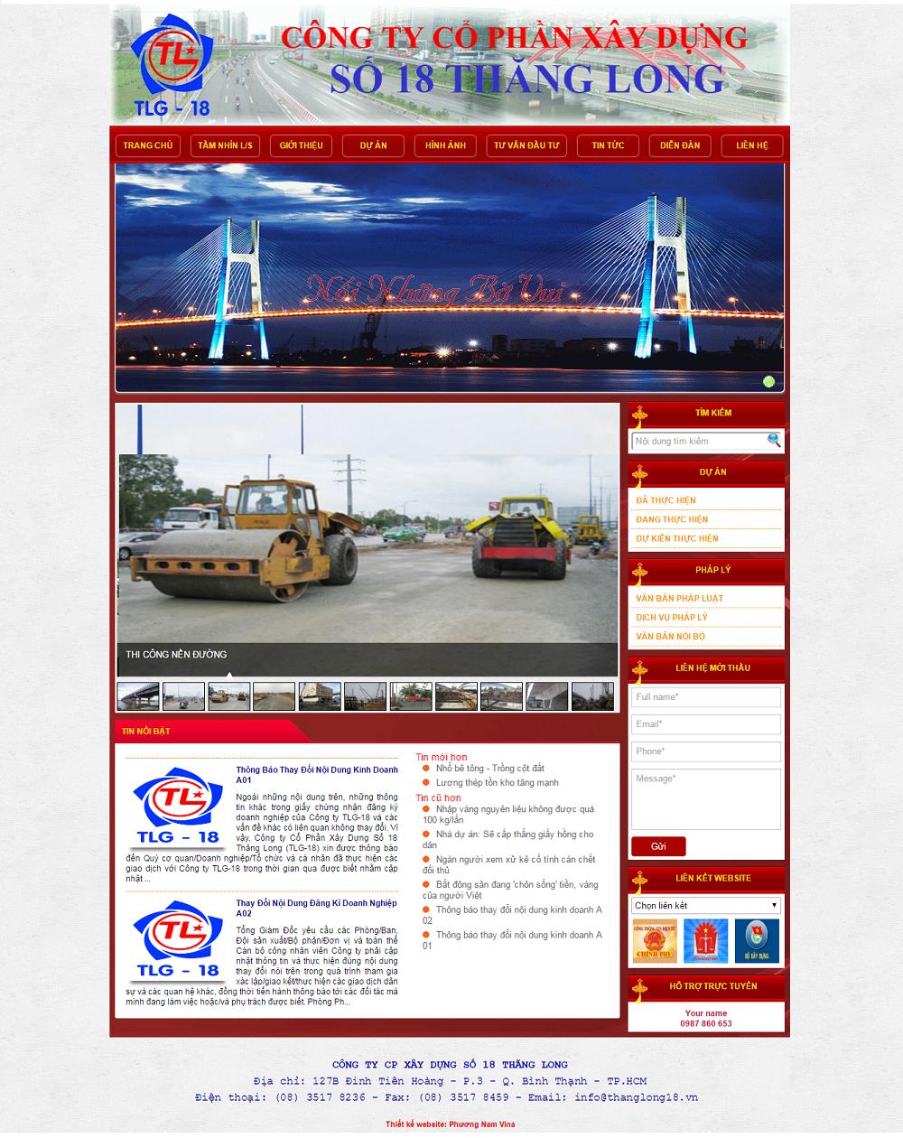 Website công ty cổ phần xây dựng Thăng Long 18