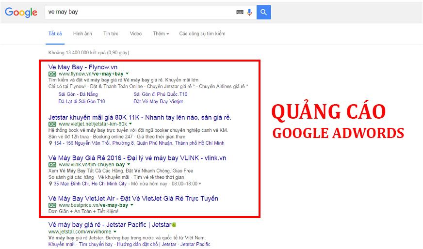 Chi phí quảng cáo Google Adwords giá bao nhiêu?