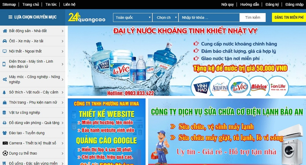 Website thương mại điện tử 24hquangcao.com