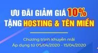 Giảm giá 10% dịch vụ website, tặng hosting tên miền