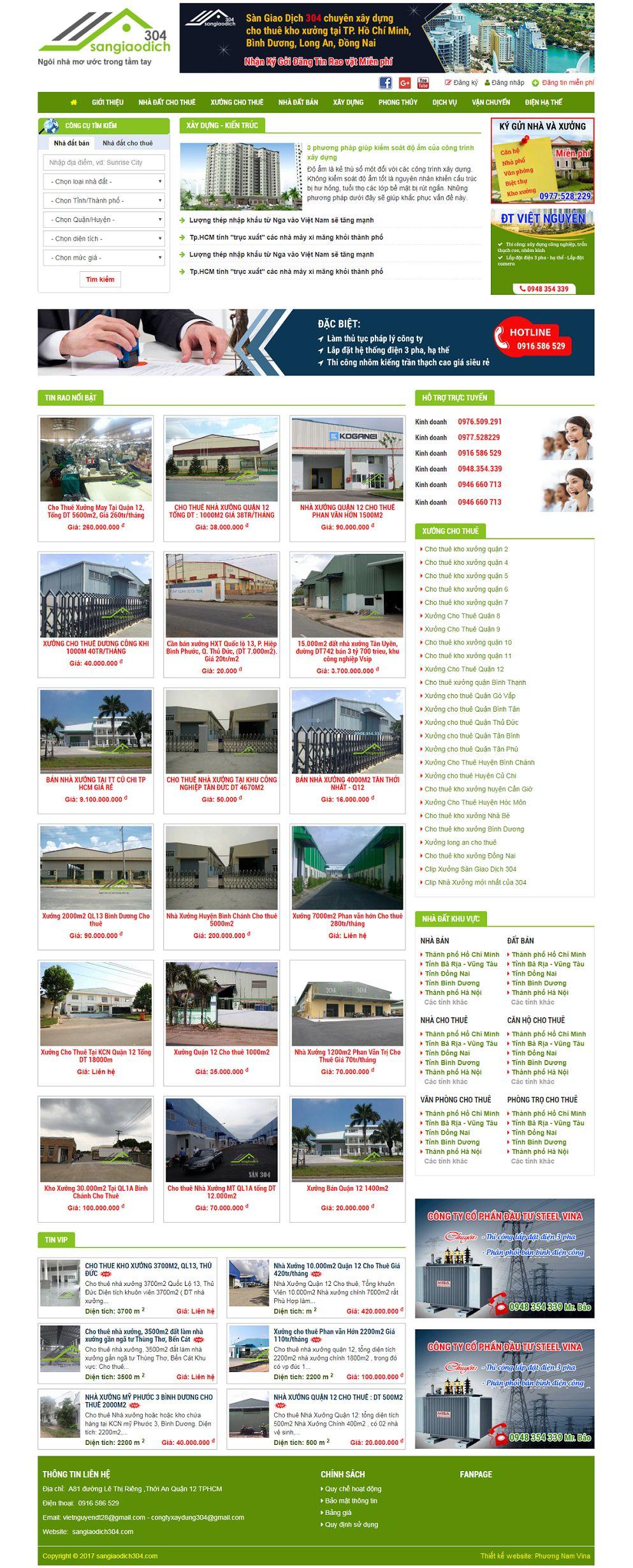 Mẫu thiết kế website nhà đất