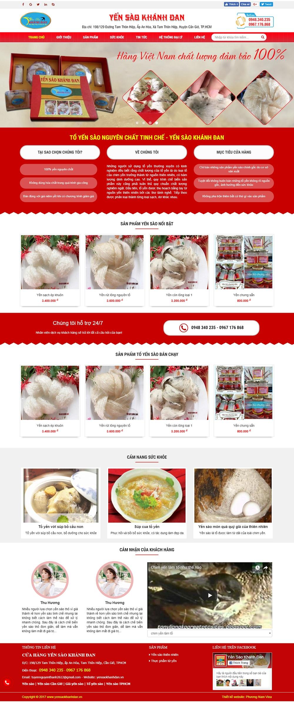 Mẫu website bán hàng yến sào - MS55