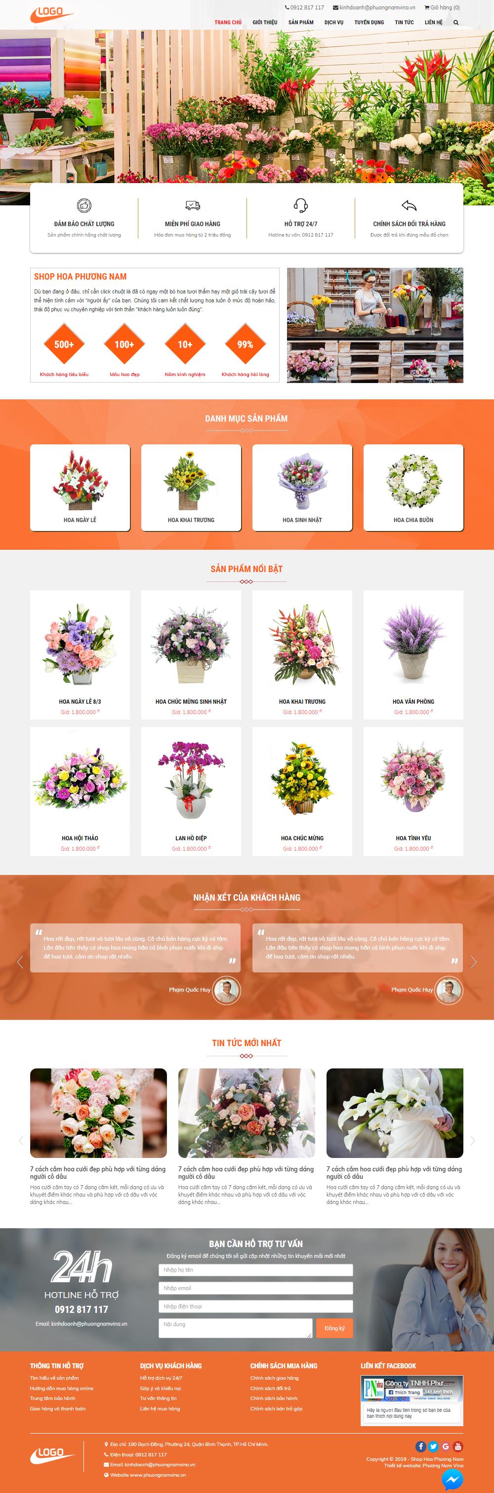 Mẫu website bán hoa
