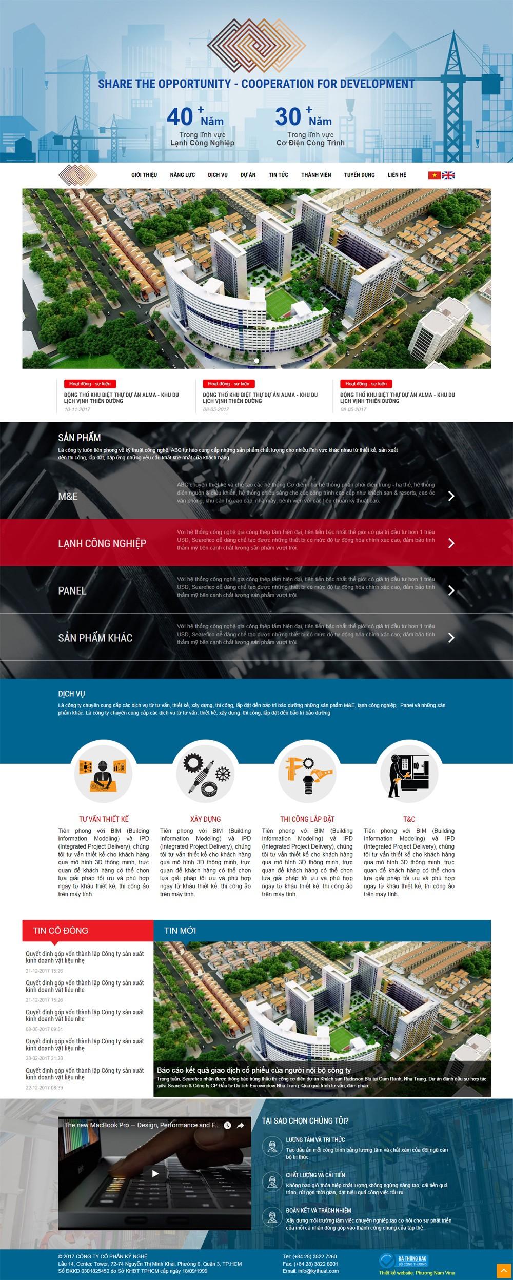 Mẫu website công ty cơ điện lạnh - MS1