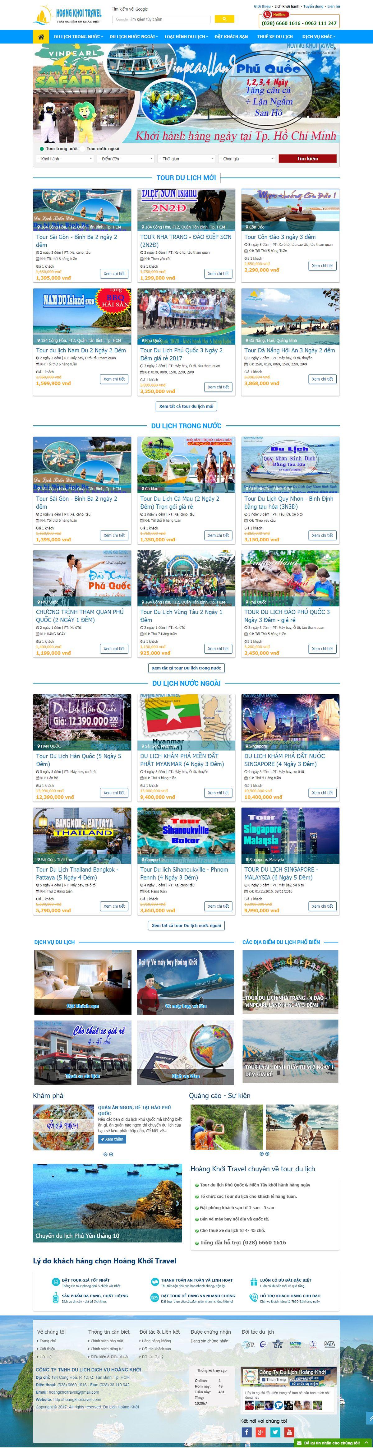 Mẫu website công ty du lịch Hoàng Khởi