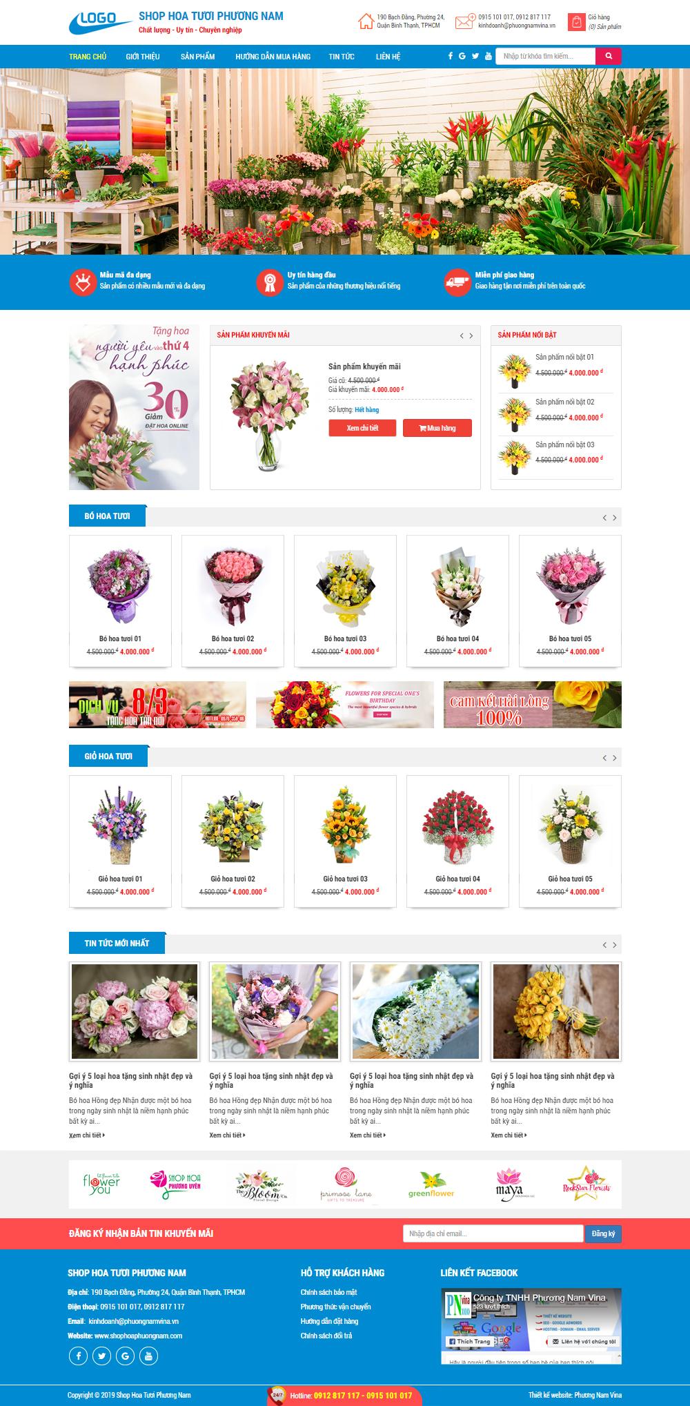 Mẫu web shop hoa giá rẻ