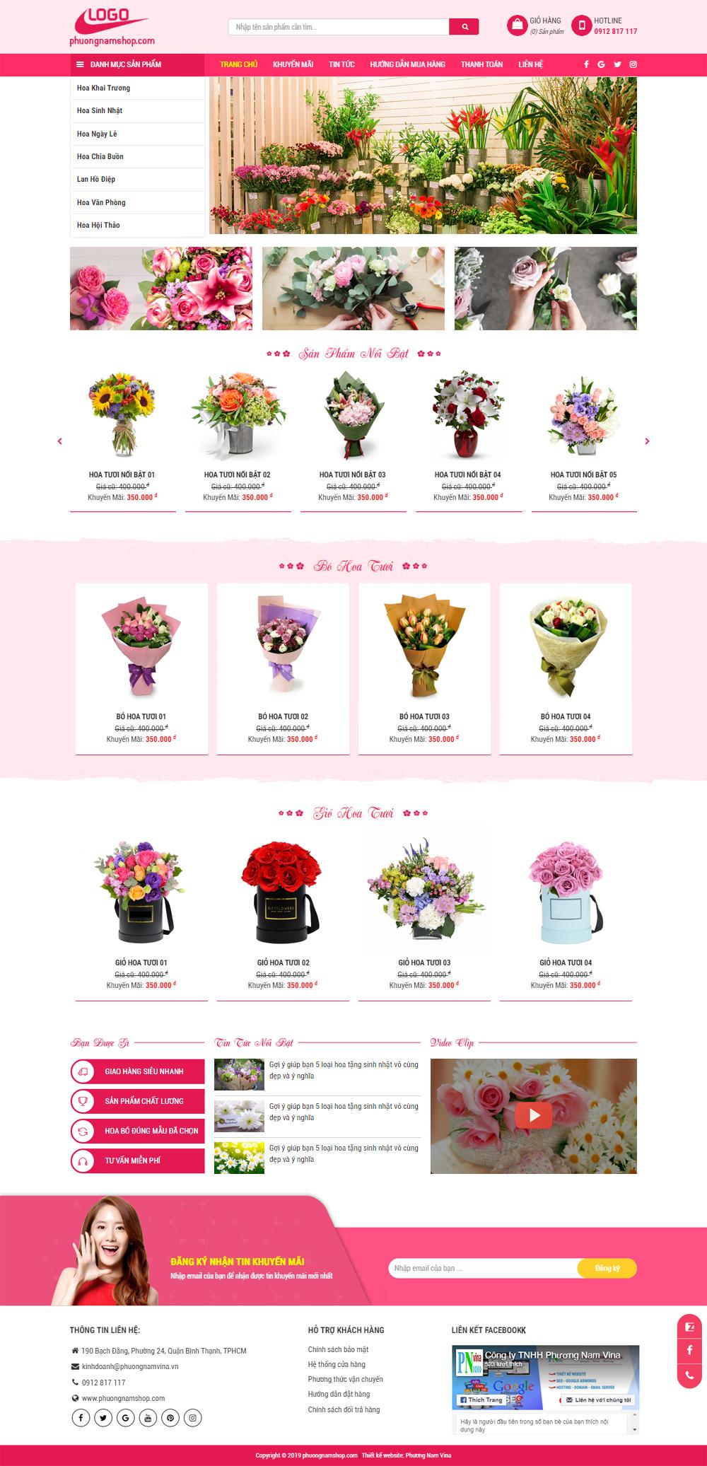 Mẫu website shop hoa